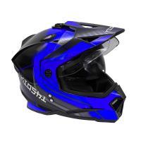 Шлем (мотард) KIOSHI Fighter 802 с очками Синий/черный XL