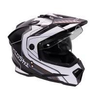 Шлем (мотард) KIOSHI Fighter 802 с очками Черный/белый M