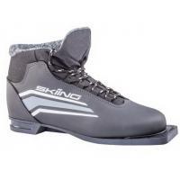 Ботинки лыжные р.32 TREK SkiingIK1 черный (лого серый) 75