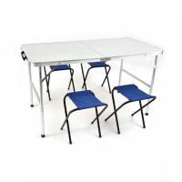Набор Стол складной (влагозащищенный) 60х120см и 4 табурета TABS-04